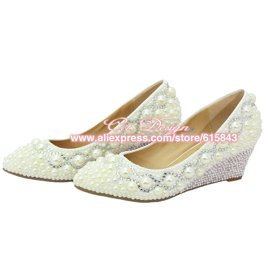 Captivating 2016 Silver Rhinestone And White Ivory Pearl Wedges Shoes Woman Medium Heel  Wedding Shoes Cinderella Party Bridal Shoe Plus Size In Womenu0027s Pumps From  Shoes ...
