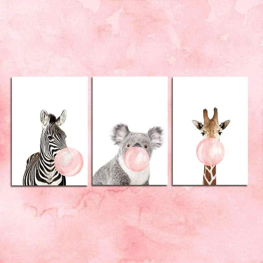 Canvas Wall Art Baby Animal Nursery Prints with Zebra Giraffe Koala Blowing Bubble Gum for Kids Children Bedroom Living Room