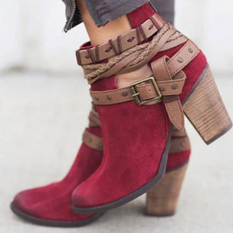 a55c2f35 Hebilla Bloque J40 Correa Tobillo Botas rojo Acuden Beige 43 Tacón Plus Zapatos  Vtota Mujeres Mujer ...
