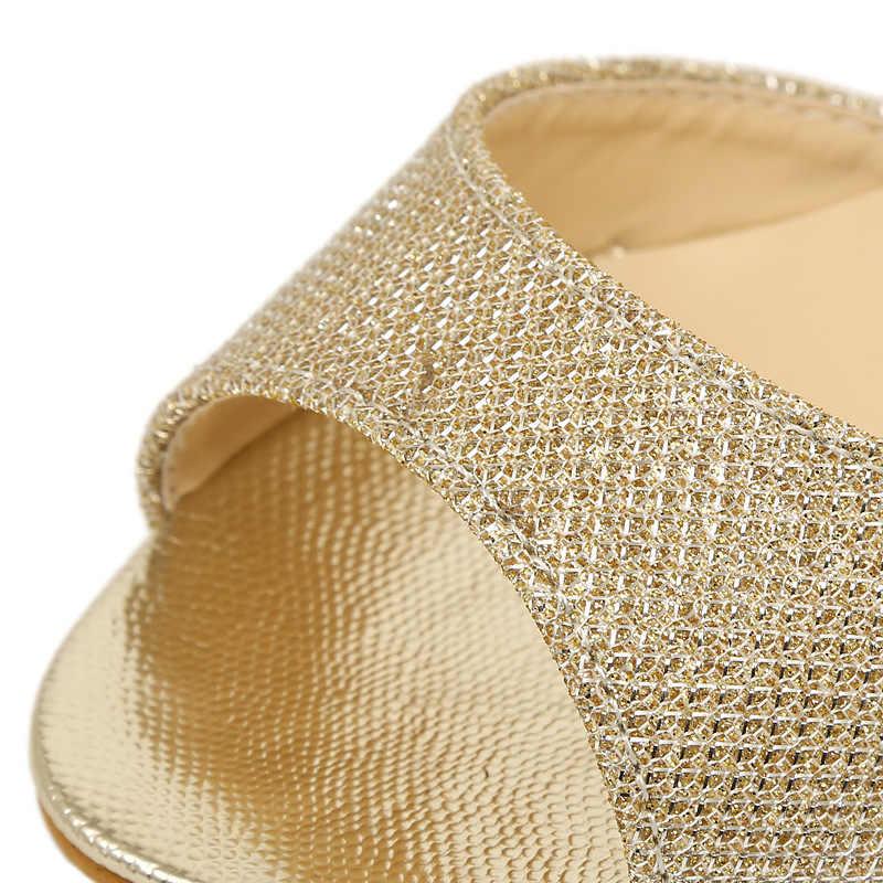 Thiết Kế thời trang Nữ Giày Sandal Hở Mũi Đế Độn Cao Gót Mùa Hè Nữ Giày Nữ Vàng Bạc Nữ Sandalias
