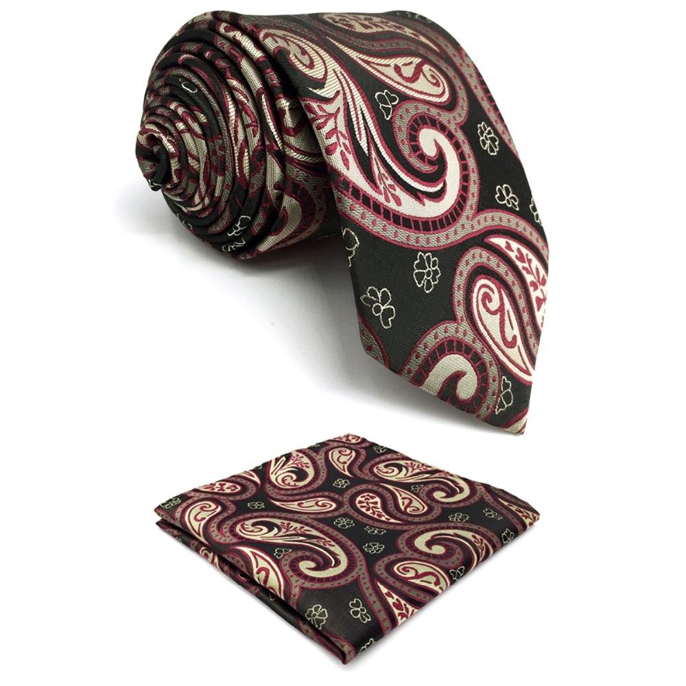 C30 Khaki Purple Paisley Mens Necktie Set Silk Fashion Hanky Wedding Classic Accessory extra long size Ties for male 63