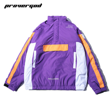 PROVERGOD Winter Thick Jacket Men Contrast Color Patchwork Padded Coat Hip Hop Male Parka Warm Jacket Streetwear