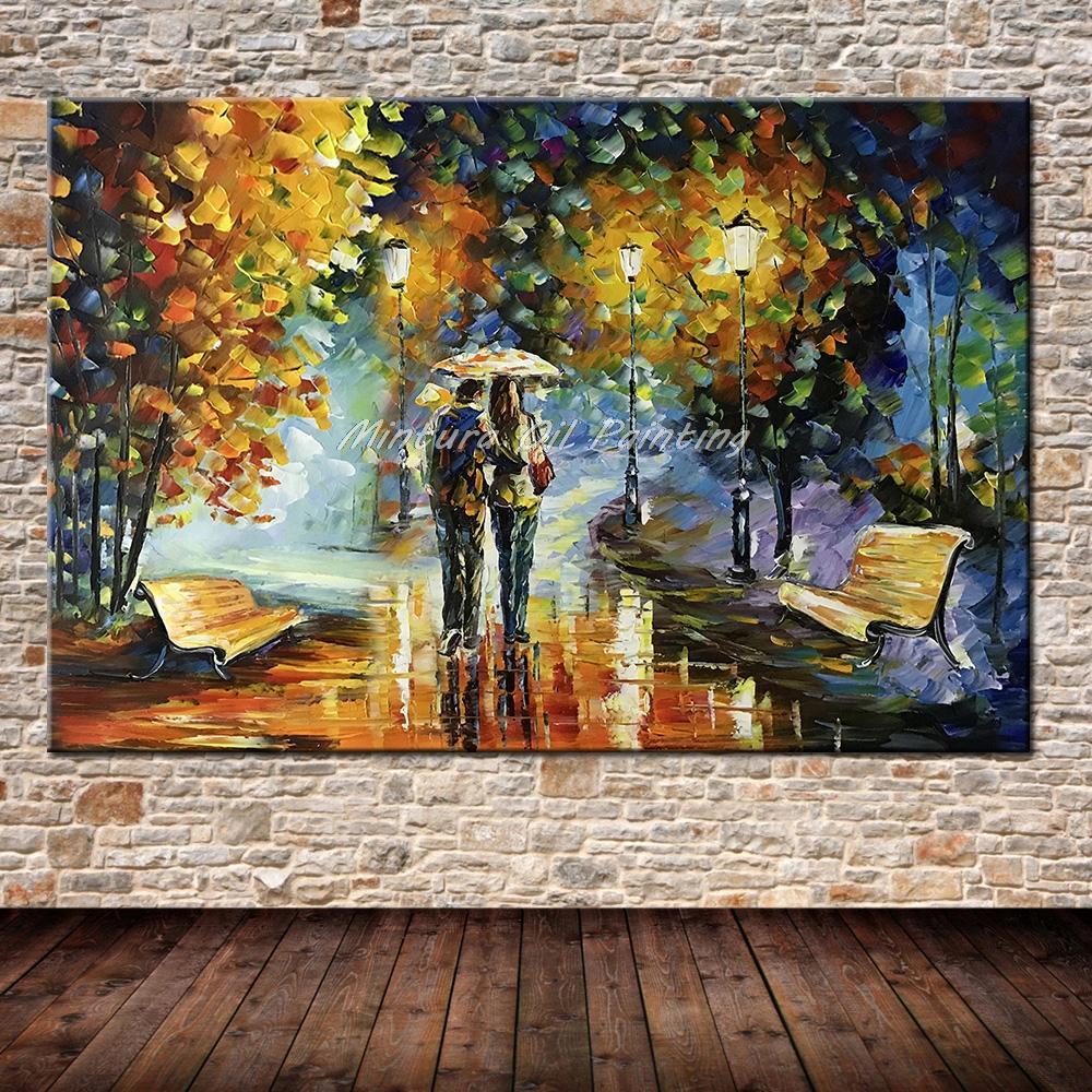 Большой расписанный вручную любовник дождь уличное дерево лампа пейзаж картина маслом на холсте настенные художественные настенные картины для гостиной домашний декор - Цвет: HY142202