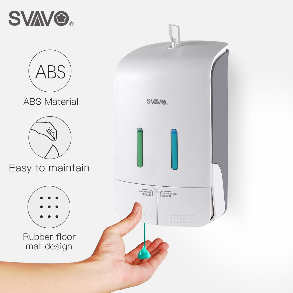 Wall Mounted Double Liquid Soap Dispenser Big Capacity Hand pressing Shower Body Lotion Shampoo manual soap dispenser 550ml*2 500ml 2 wall mounted hand pressing double soap dispenser hotel bathroom abs plastic liquid soap dispenser