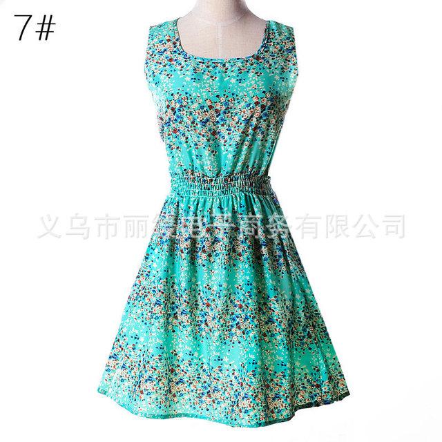 Women summer dress 2018 new fashion Floral print chiffon sleeveless cheap Summer dress plus Size Sleeveless Vestidos HJY1138