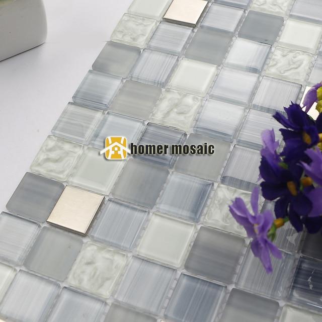 Rauchgrau streifen glasmischmetall edelstahl mosaik fliesen für ...