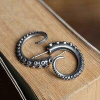 Vintage Genuine 100% Real 925 Sterling Silver Octopus Foot Earrings Punk Ear Piercing Earrings Hip Hop Jewelry Dropshipping