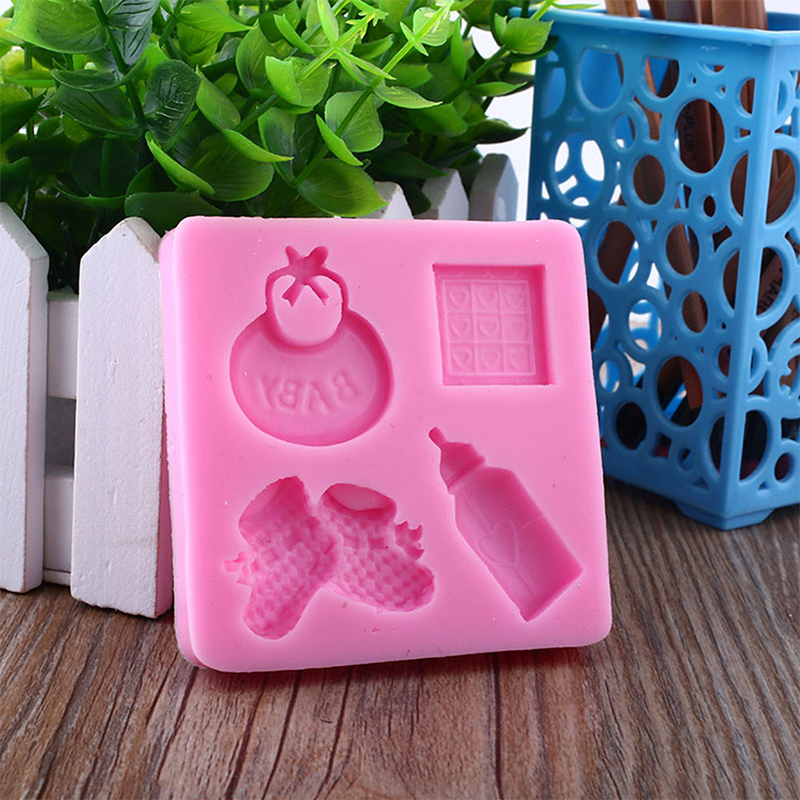 Cute Baby Care Series Shape Soap Mold Hand Bottle Chocolate Silicone Mold Fondant Cake Decorating Tools