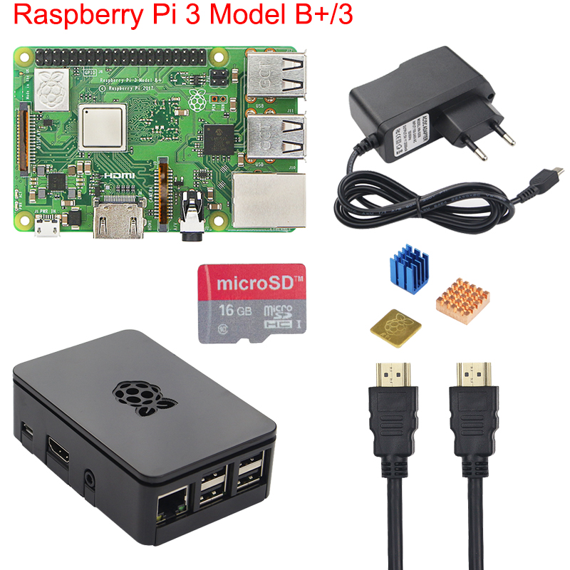 Original Raspberry Pi 3 B+ Starter Kit + Case + 2.5A Power Supply +16 32GB SD Card + Heat Sink for Raspberry Pi 3 Model B+ Plus raspberry pi zero v1 3 development kit package e with 2 13inch e paper hat 16gb micro sd card and other basic components