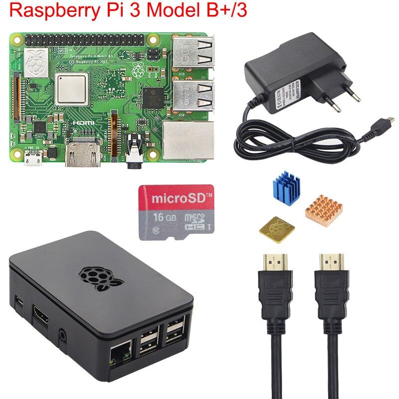Original Raspberry Pi 3 B + Starter Kit + Fall + 2.5A Stromversorgung + 16 32 GB Sd-karte + Kühlkörper für Raspberry Pi 3 Modell B + Plus