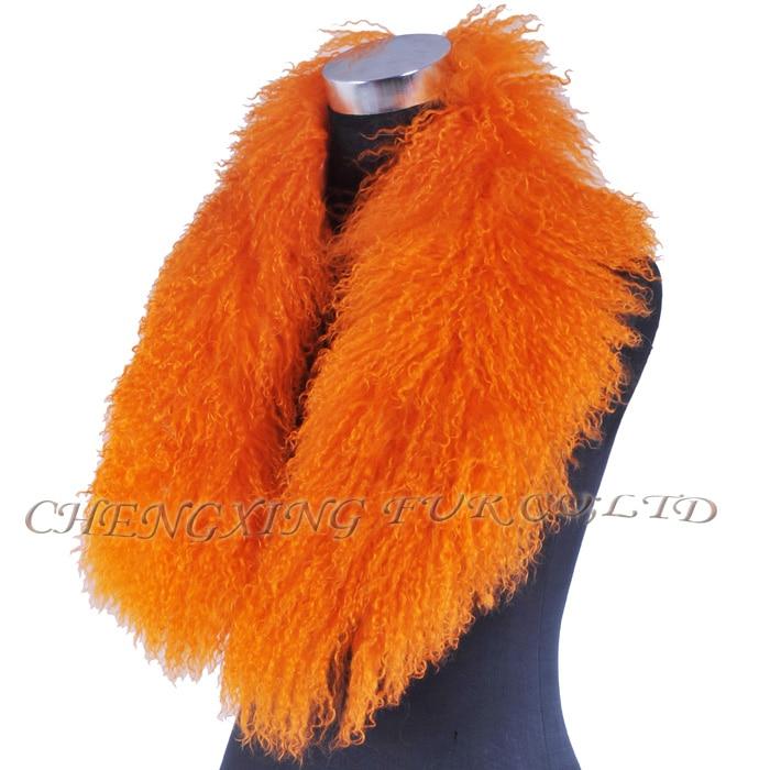 Настоящий монгольский овечий меховой воротник настоящий овечий мех шарф шарфы накидка шейный платок меховой шарф - Цвет: Оранжевый