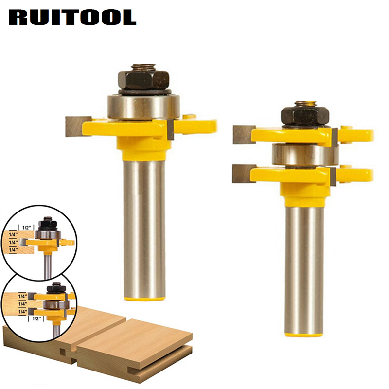 2Pcs Tongue Groove Woodworking Milling Cutter Router Bit Set 1/2'' Shank T-Slot Wood Cutter For Wood Flooring Panel Doors 2pcs t wood milling cutter 1 2 1 4 hard alloy matched tongue groove router bit set shank woodworking cutting cutters tool