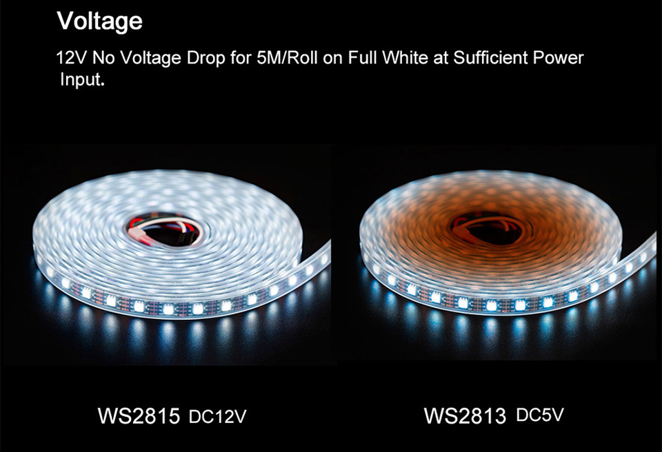 HTB1LFfZaifrK1RjSspbq6A4pFXam WS2815 DC12V (WS2812B/WS2813) RGB LED Pixels Strip Light Individually Addressable LED Dual-Signal 1m/5m 30/60/144 Pixels/Leds/m
