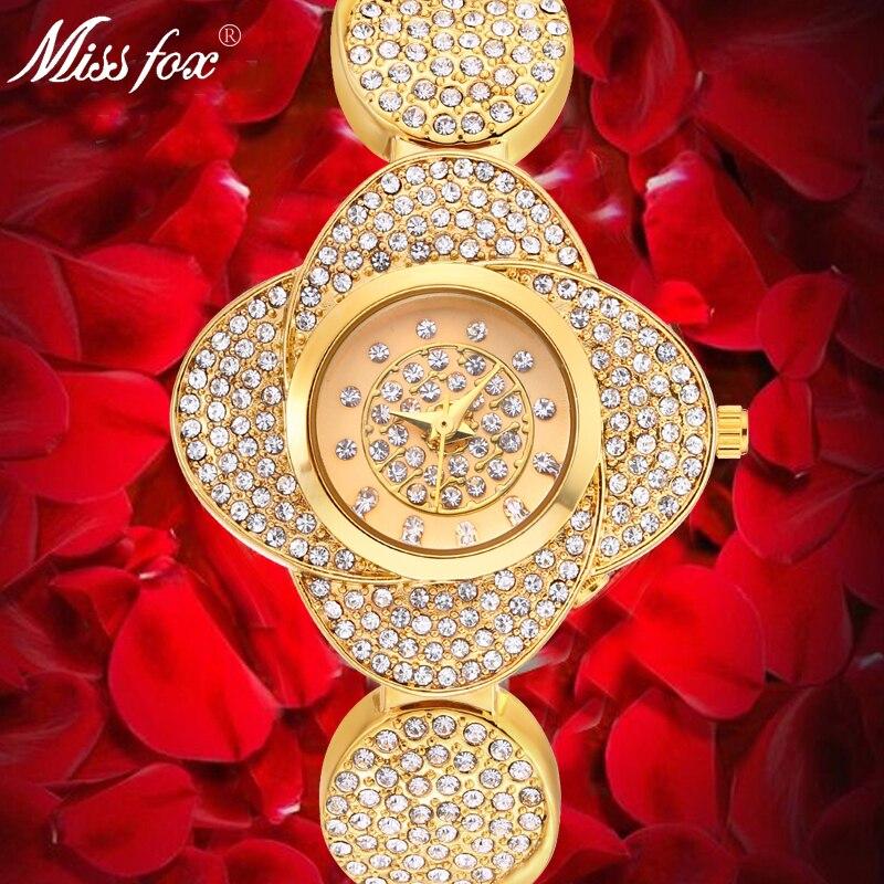 Miss Fox nouveauté 35mm Rose fleur montre plein diamant femmes montre en or importation japon Quartz chinois montre pour cadeau de noël