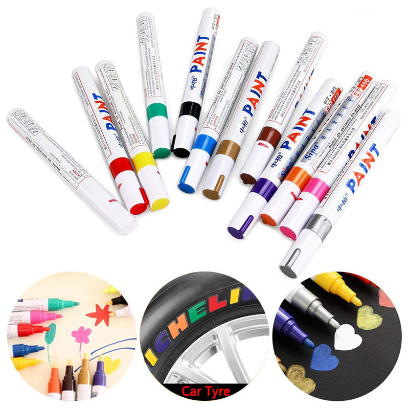 Metal Permanent Paint Oil Base Markers Colorful Waterproof Pen Marcador Caneta For Car Tyre Tire Tread CD Graffiti Rubber Wood