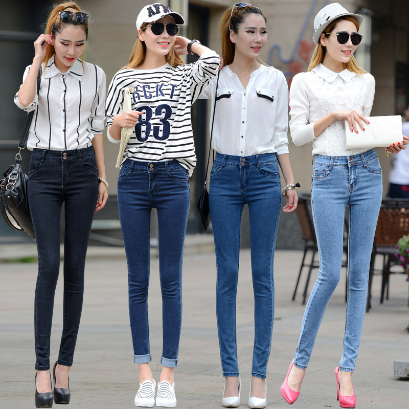 2016 Autumn and Winter New Elastic High Waist Jeans Female Feet Pants Korean Version was Thin Pencil Pants AXD1517