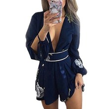 Wuhaobo 2018 Summer Casual Fashion Playsuit Lace Collar Stamp V Backless Sexy Female Beach Long Sleeve