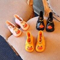 Children Rainboots Plus Cashmere Short Rain Shoes Lovely Duck Gift For Kids