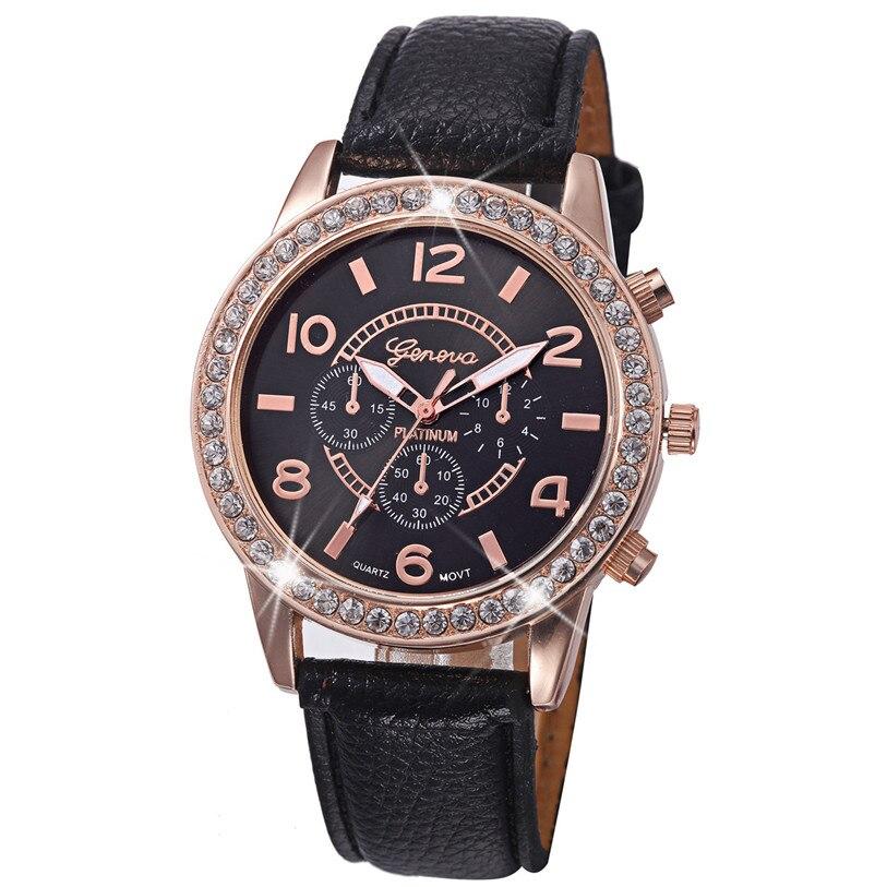 0b8aa6b613b Hl 2018 reloj de manera de las mujeres de lujo Diamante de cuero análogo cuarzo  relojes Relogio masculino Uhren relojes caja z519