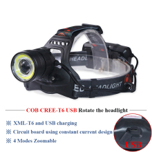 camping COB headlight high power led head torch head lamp USB rechargeable headlamp 18650 xml t6 zoom fishing head lantern led dwz black 2000lm xml t6 led rechargeable head lamp front bicycle cycling headlight