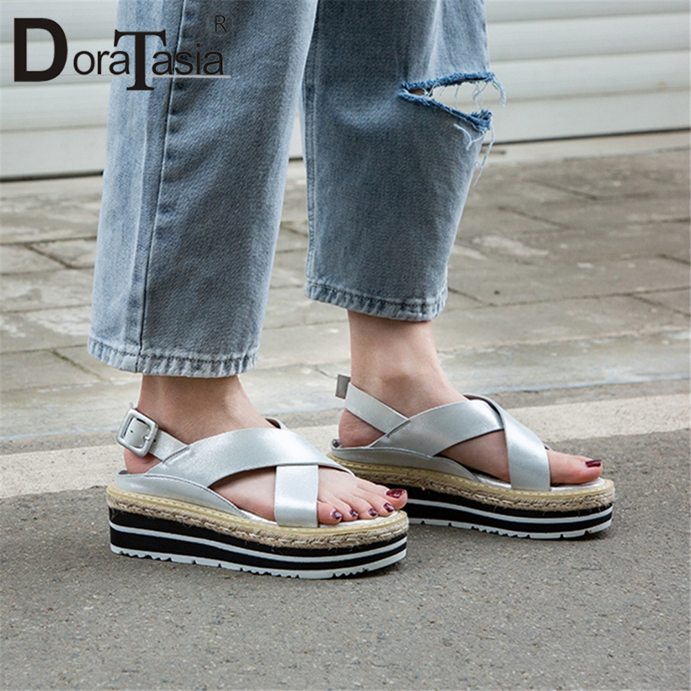 DORATASIA 2019 Genuine Sheepskin Leather Shoes Sandals Women Summer Flat Platform Women Casual Shoes Woman Size 34-40DORATASIA 2019 Genuine Sheepskin Leather Shoes Sandals Women Summer Flat Platform Women Casual Shoes Woman Size 34-40