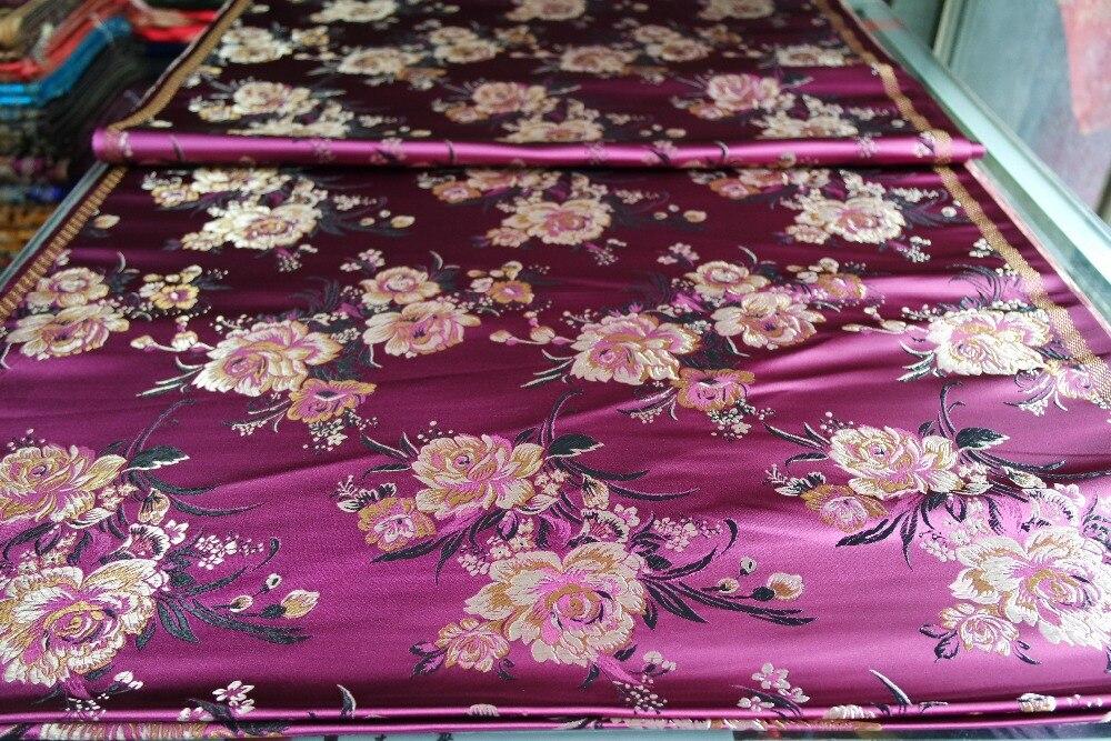 Китайська традиційна парча з парчі Поліестер 75 см ширина подушки cheongsam qipao Класична темно-червона темно-червона спинка з візерунком півонії