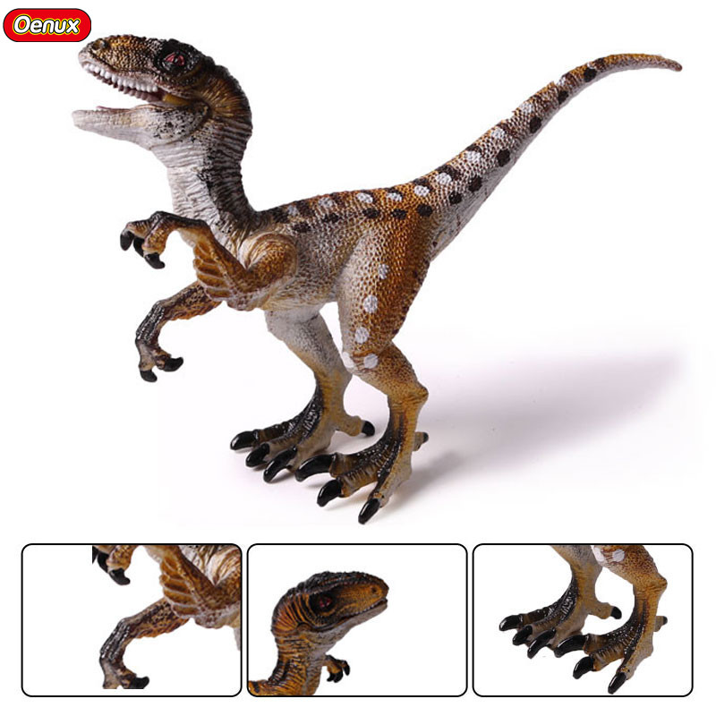 Oenux Prehistoric Dinosaur Animals Model Jurassic Raptor Velociraptor Dinosaurs Mouth Can Open Action Figures Toy For Kids Gift