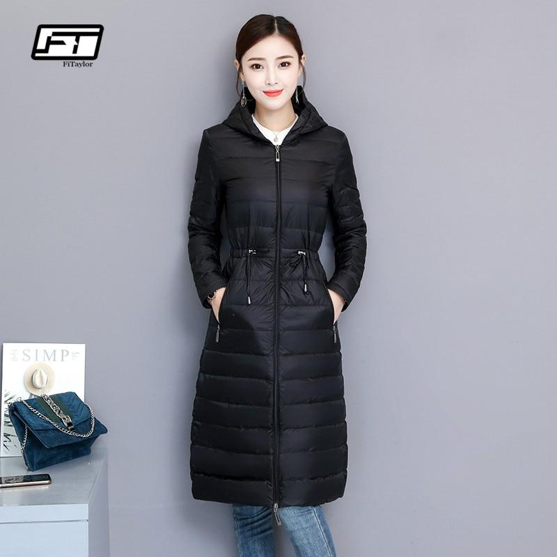 Fitaylor Winter Women Duck Down Jacket Medium Long Slim Hooded Parkas 90 Ultra Light Down Coat