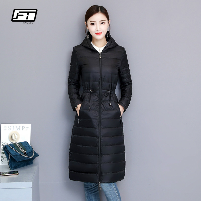 Fitaylor зима Для женщин утка пуховик средней длины тонкий парки с капюшоном 90% ультра легкий пуховик Повседневное одежда OL