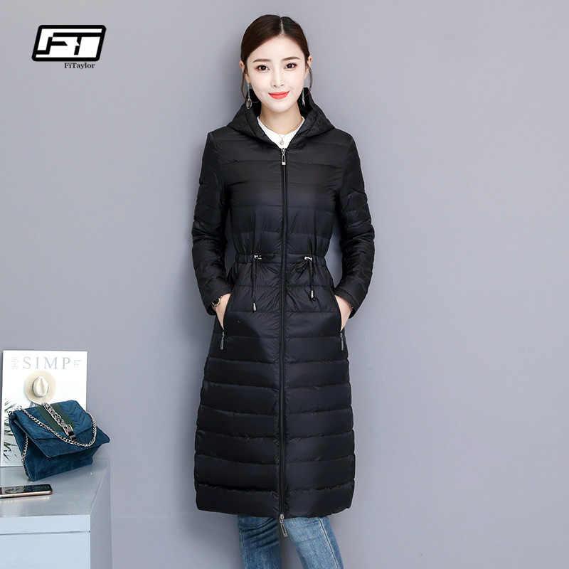 Fitaylor зимние Для женщин куртка-пуховик на утином пуху средней длины тонкий парки с капюшоном 90% ультра светильник пуховое пальто Повседневное одежда OL