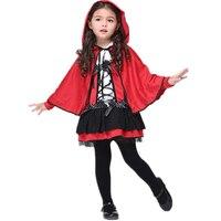 Halloween Costumes Little Red Riding Hood Costume Enfants Filles Âge 3-11 Y/O Rouge À Capuchon Cape et robe