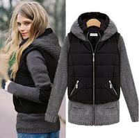 Kadınlar Kış Ceket 2017 Moda Patchwork Ince Fermuar Pamuk/Polyester Kapşonlu Sıcak Vintage Jeans Mont Kadın M L XL XXL