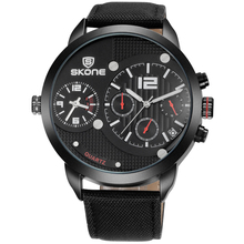 SKONE Male Date Chronograph Watches Men Canvas Strap Big Face Waterproof Sport Watch Casual Army Military