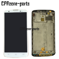 For Philips I928 LCD Screen Display With White Touch Screen Digitizer Frame Assembly By Free Shipping