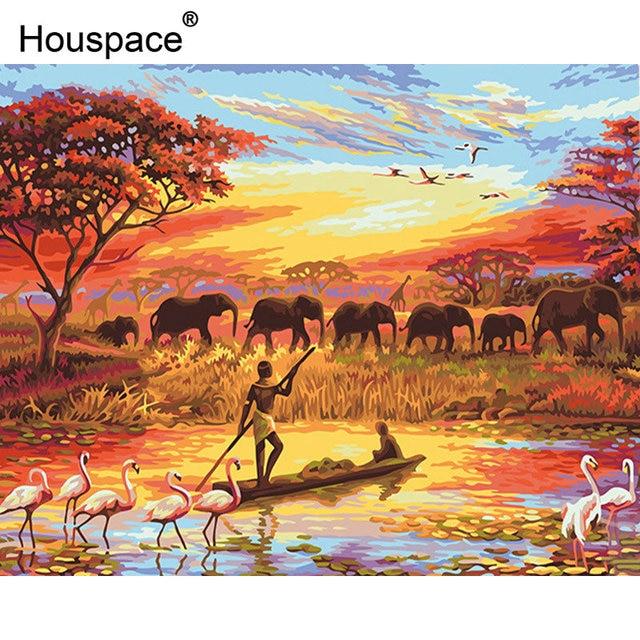 Us 719 40 Offhouspace Elefanten Migration Sunset Diy Malen Nach Zahlen Landschaft Moderne Wandkunst Leinwand Malerei Handgemalte Einzigartiges