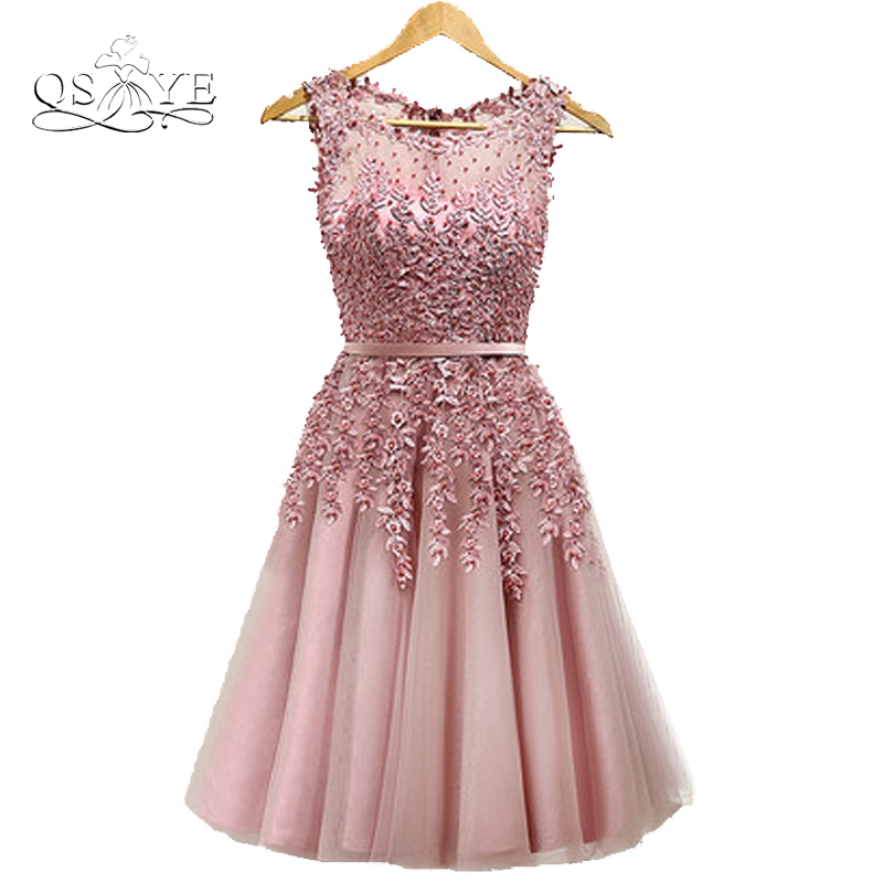 New Cheap Short   Bridesmaid     Dresses   A-line illusion Neck Lace Tulle Formal Wedding Party   Dress   Custom Made