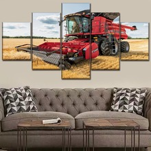 Canvas Painting Wall Art Print Poster Decor Framework 5 Pcs Field Summer Vehicles Tractor Wheat Picture For Living Room Artwork