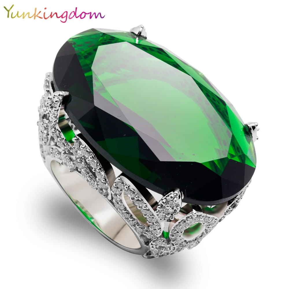 Yunkingdom Cut Oval Green Cubic Zirconia Wedding Fine Jewelry Banquet Party Rings Big Zircons White Gold
