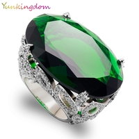 Yunkingdom Cut Oval Green Cubic Zirconia Wedding Fine Jewelry Banquet Party Rings Big zircons White Gold Color Fine Ring