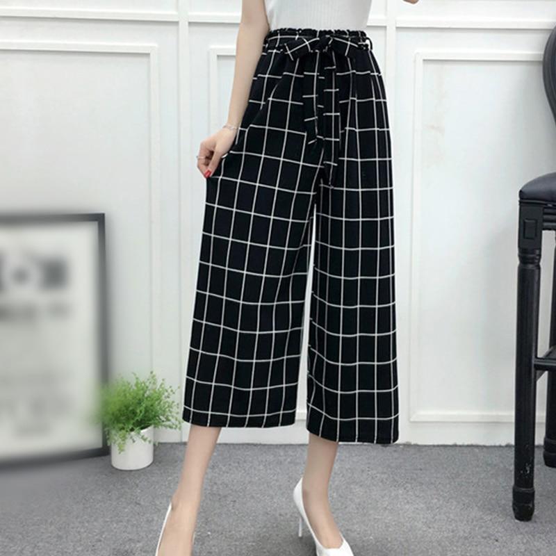 2018 summer Fashion Women Ladies Casual Loose High Elastic Waist   Pants     Wide     Leg     Pants
