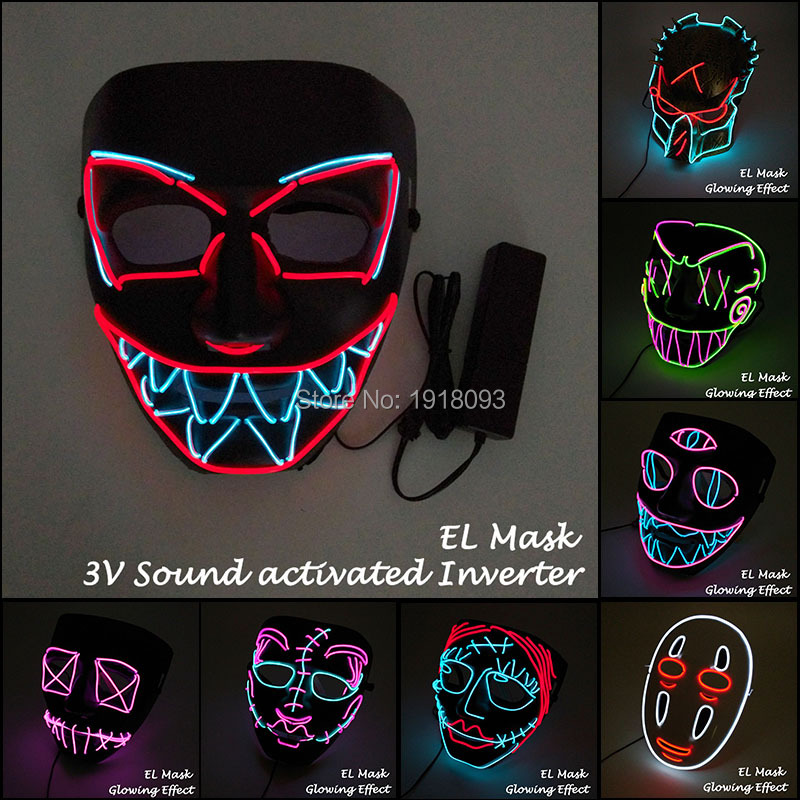Newest EL Wire Flashing Mask Glowing Dance Carnival Party Mask Horror LED Strip Mask With Sound Activated Driver