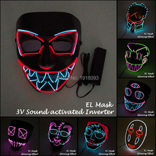 Newest EL Wire Flashing Mask Glowing Dance Carnival Party Horror LED Strip with Sound activated Driver
