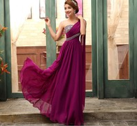 Summer Long Purple Chiffon Dress For Wedding Bridal Women Elegant One Shoulder Dress Evening Party Long Maxi Dress vestidos