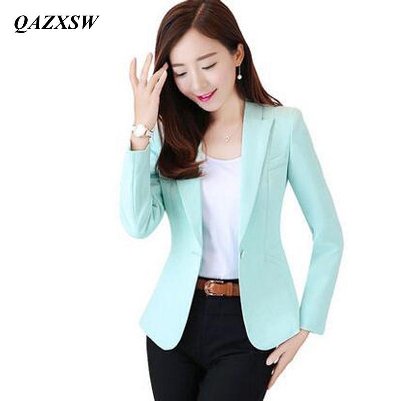 QAZXSW 2019 Kadın Blazer Ve Ceketler Yeni Uzun kollu Küçük - Bayan Giyimi