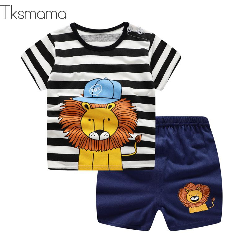 New Arrival Toddler Boy Kids Clothes Lion Print Short Sleeve T-shirt + Shorts 2 Piece Set Baby Boy Girl Cloths Outfit(China)
