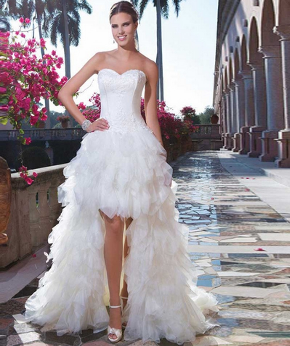 Stunning Ball Gown Strapless Flowers High Low Wedding Dress high low wedding dress Ball Gown Strapless Flowers High low Wedding Dress