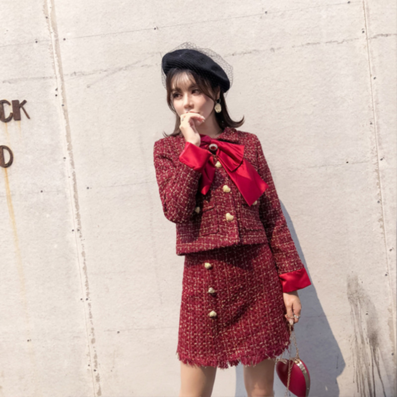 2019 Autumn Tweed Skirt Suit Set Causal Women Two Piece Set Short Jacket+Tassel Skirt Long Sleeve Slim Red Sets Woman Two Pieces