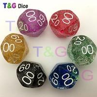 5pcs/set T&G Random 5 pieces D10% Dice Set with Glitter Powder effect,number 00-90 entertainment toys Dice