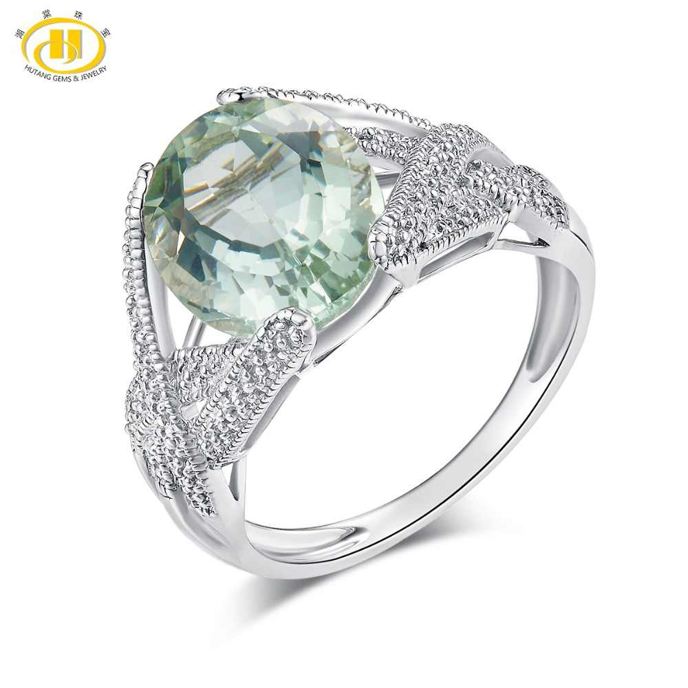 Hutang 4.5ct Green Amethyst Wedding Ring 925 Sterling Silver Ring Natural Gemstone Fine Elegant Jewelry for Women Best Gift New