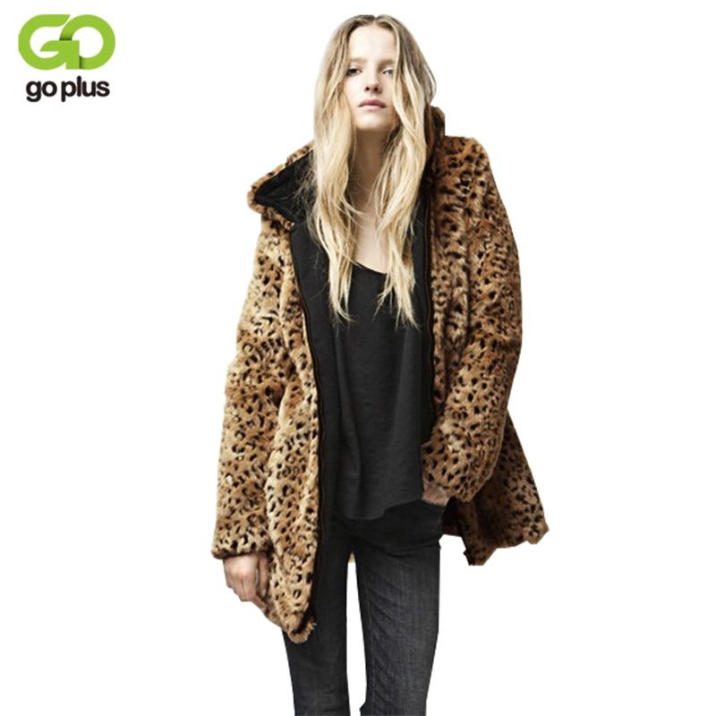 GOLPUS 2019 Women Top Winter Artificial Fur Coat Full Sleeve Faux Fur Leopard Coat Lady Faux Fur Outerwear Chaquetas Mujer C4311